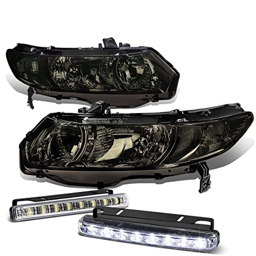 Honda Civic 8th Gen Coupe Smoked Lens Clear Corner Headlight+DRL 8 LED Fog Light (Fd2 Civic Fog Lights compare prices)