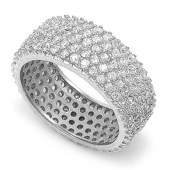 Rhodium Plated Silver Pave Set Cz Eternity Band (Size 6 - 10) - Size 8