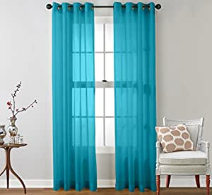 Hlc Me 2 Piece Sheer Window Curtain Grommet Panels Turquoise 108 Inch Long