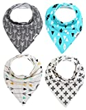 Matimati Baby Bandana Drool Bibs, Unisex 4-Pack Absorbent Cotton, Cute Baby Gift for Boys & Girls (Arrows & Triangles)