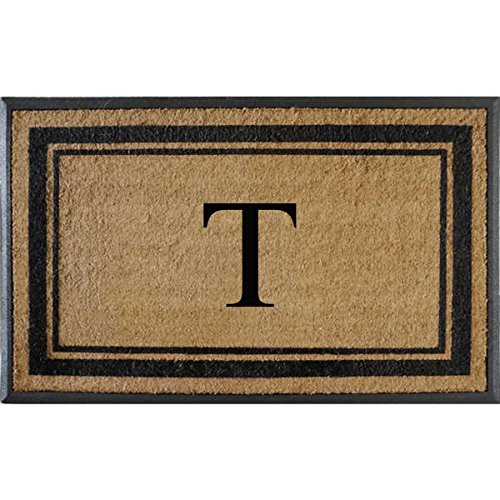 First Impressions Markham Border Double Door, Doormat, Monogrammed T, X-Large (Monogrammed Outdoor Mats compare prices)