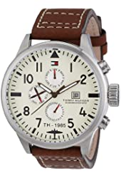 Tommy Hilfiger Men's 1790684 Brown Leather Quartz Watch with Beige Dial
