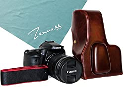 Zenness Vintage Pu Leather Camera Case Bag Cover for Canon EOS 70D with 18-135mm/18-200mm/15-85mm/17-85mm lens