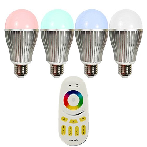 Hotenda Wireless E27 9W LED RGB + White Bulb Lamp + 4-Zone RF Remote Touch Sensitive Remote Controller - Dimmable Multicolored Color Changing LED Lights