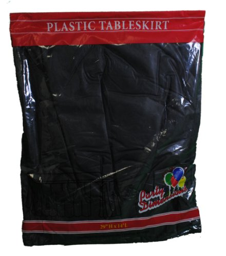 "Black Plastic Table Skirt 29"" x 14' Rectangular Party - 1"
