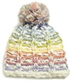 San Diego Hat Co. Girls 2-6x Rainbow Stripe Pom Pom Beanie