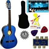 'Stretton Payne' Guitare Acoustique Classique 3/4 Pack - Bleue - Avec Housse et Accordeurs et Mediator
