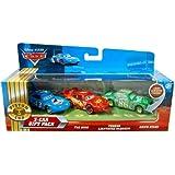 Disney / Pixar CARS Movie 155 Die Cast Cars 3Car Gift Pack The King, Tongue Lightning McQueen Chick Hicks Lenticular Eyes!