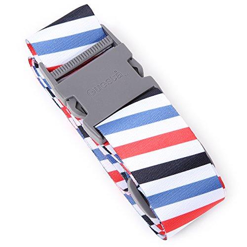 シンプルで可愛いラゲッジベルト スペインデザイナーのスーツケースベルト 旅行で便利 ワンタッチ式 (ホワイトストライプ)