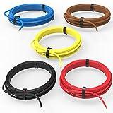 Auprotec® Câble unipolaire 0.5 mm² Fil Électrique: Set 5 couleurs á 5m...