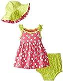 Gerber Baby Girls' 3 Piece Flowers Dress Set, Lime Green, 0 3 Months