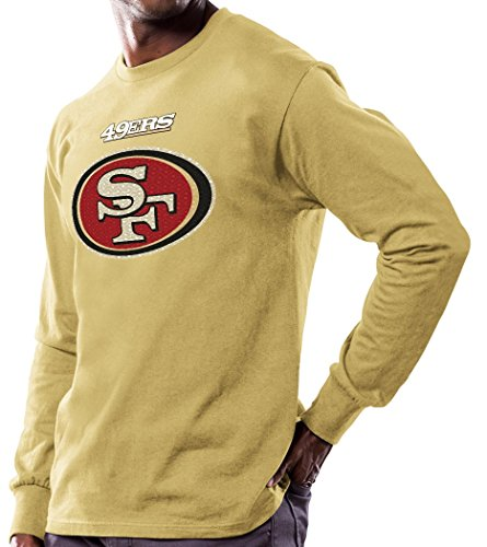 San Francisco 49ers Majestic NFL Critical Victory Men's Long Sleeve Gold T-Shirt Camicia