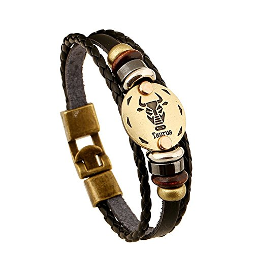 soleebee-unisex-punk-retro-leather-alloy-bracelet-taurus