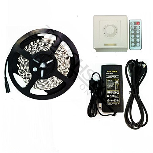 Waterproof Flexible Led Light Strip Kit - 16.4Ft 600Leds 3528 Smd Led Strip Lights + Led Wall Dimmer Set + Power Supply (Daylight)