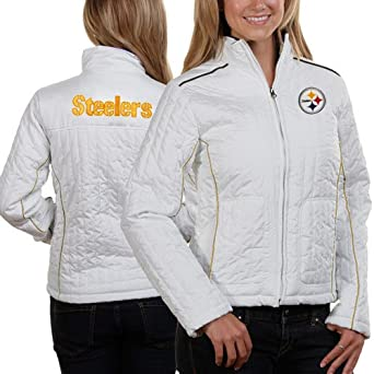 NFL Women's Pittsburgh Steelers White Quilted Jacket (White, Small)