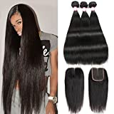 CYNOSURE Brazilian Virgin Hair Straight with Closure 4x4 Middle Part Brazilian Straight Human Hair Bundles with Closure Natural Black (20 22 24+18 inch closure) (Color: Natural Black, Tamaño: 20/22/24+18 Inch)
