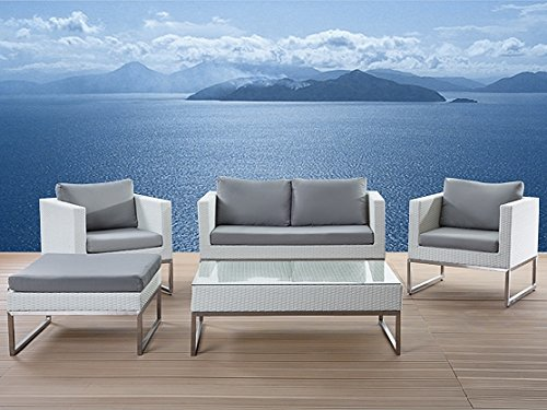 Stainless Steel - Garden Furniture - White Rattan - Table - Sofa - 2 Chairs - Ottoman - Crema