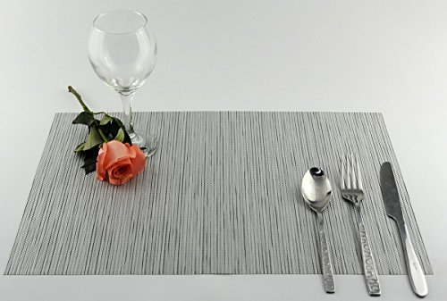 Niyatree Woven Vinyl Basic Kitchen Placemat Cup Ashtray Mat Simple Style Dining Table Mat Set Of 6 - Gray