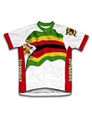 Zimbabwe Flag Short Sleeve Cycling Jersey for Women