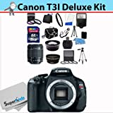 Canon EOS Rebel T3I Digital SLR Camera with EF-S 18-55mm f/3.5-5.6 IS II Lens Full 16GB Kit + Wide Angle , Telephoto + Full Size Tripod + Deluxe Camera Bag + Four Piece Macro Set + Essential Filter Kit + All You Need Accesory Kit (Screen Protector , Full Cleaning Kit , Lens Cap Holder)