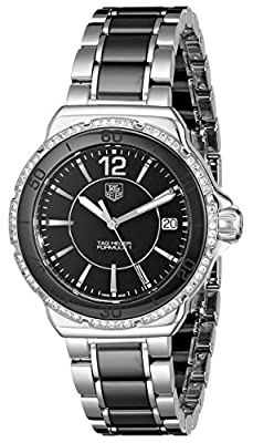 TAG Heuer Women's Steel Bracelet & Case Anti Reflective Sapphire Quartz Black Dial Watch WAH1212.BA0859