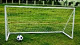 PAIR OF KIDS JUNIOR 8FT X 4FT ABS PLASTIC PORTABLE WHITE FOOTBALL GOAL INC NET