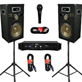"Podium Pro 12"" Speakers 3 Way Pro Audio Monitors, Stands, Amp, Cables and Mic Set for PA DJ Home or Karaoke PPB12SET"