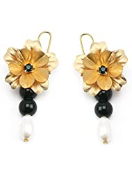Aarya 24kt Gold Foil Flower Pearl Drop With Green Earring Dangler For Women