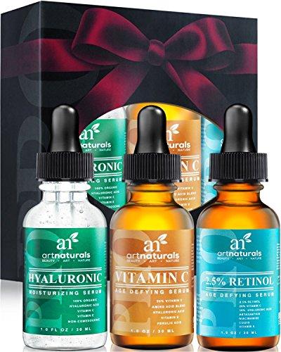 Art Naturals® Anti-Aging Set: Vitamin C Serum( 1.0 oz), Retinol Serum (1.0 oz) & Hyaluronic Acid Serum (1.0 oz) for Anti Wrinkle and Dark Circle Remover -USA- thumbnail