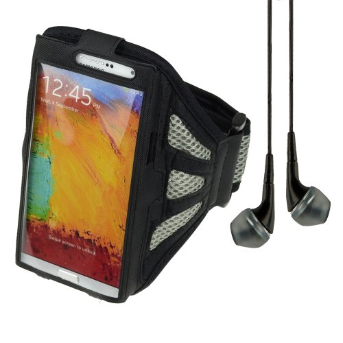 Adjustable Fabric Workout Armband For Samsung Galaxy Note 2 / Note 3 / Lg Optimus G Pro - Black / Gray + Vangoddy Headphone With Mic,Black