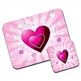 Pink Hearts & Flowers With Flying Butterflies Premium Mousematt & Coaster Set