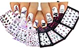La Demoiselle 3D Glitter Stickers For Nail Art Pack of 8 Variety Designs: Feather, Hearts, Bunny, Cute Cat, Fruits, Butterflies