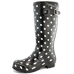 Women\'s DailyShoes Mid Calf Knee High Hunter Rain Boot Round Toe Rainboots, 7