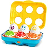 BRIGHT STARTS HAVING A BALL Giggling Gourmet Put n Shake Eggs, Yellow/Red/Blue/Green/Purple