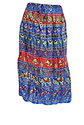 Indiatrendzs Women's Cotton Skirts Dark Blue Printed Long Maxi