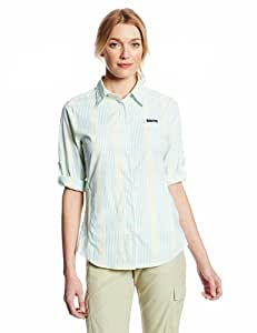 Columbia Sportswear Women's Super Tamiami Long Sleeve Shirt, Geyser Plaid, Small