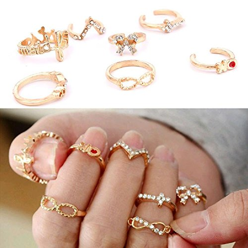 Fashion Personality 7Pcs Gold Rhinestone Bowknot Cross Women Rings Set