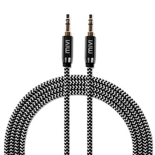 6ft-long-Nylon-Braided-Original-MIVI-Tough-Auxiliary-Audio-Cable-with-35mm-Male-to-Male-Gold-plated-connectors-for-Headphones-Mobile-phones-Home-Car-stereos-and-more