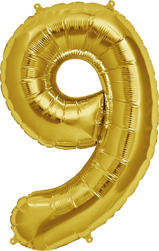 Number 9 - Gold Helium Foil Balloon - 34 inch