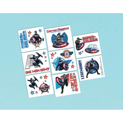 Captain America Tattoo Favors - Birthday and Theme Party Supplies - 16 Per Pack - 1