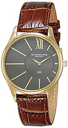 buy Stuhrling Original Men'S 553.3335K54 Classic Cuvette Sd Yellow Gold-Plated And Brown Leather Strap Watch