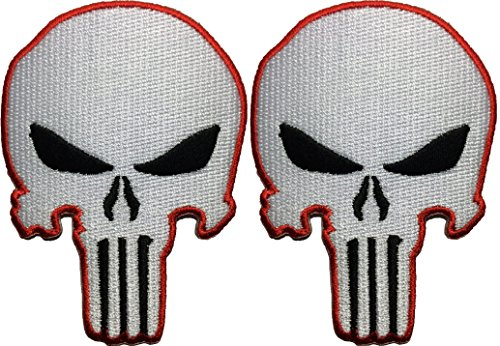 Set 2 of Punisher Skull Sew on Iron on Embroidered Applique Patch - White and Red - By Ranger Return (RR-IRON-PUNI-SKUL-WHTE-0RED-SET2) (Automotive Iron On Patches compare prices)