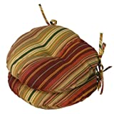 Greendale Home Fashions Round Indoor/Outdoor Bistro Chair Cushion, Kinnabari Stripe, 15-Inch, Set of 2