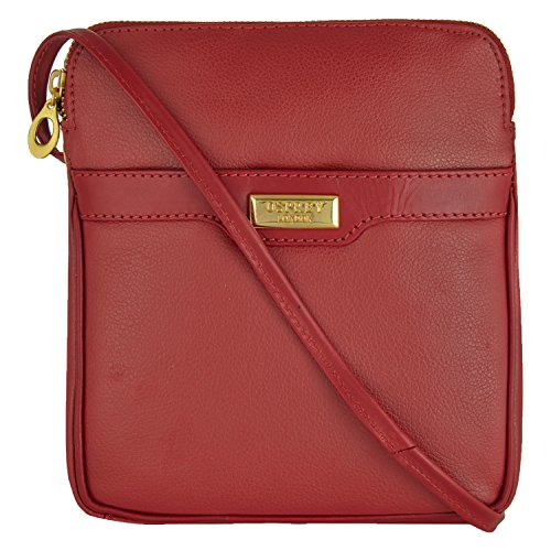 Womens Osprey London Red Lucie Leather Cross Body Bag Ladies
