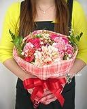 【送料無料】チェックのラッピング カーネーションと季節のお花のブーケ・花束(生花) (ピンク系) FL-MD-807
