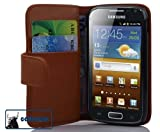 Cadorabo ! Leather cover Samsung Galaxy ACE 2 I8160 Wallet Book Style in brown