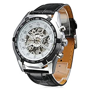 BestOfferBuy Armbanduhr Skelett Analog Mechanisch Kunstleder Band
