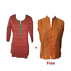 Geroo Women's Round Neck Tops With Orange top Free
