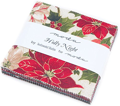 Moda Fabrics Holly Night Christmas Metallic Charm Pack 42 Fabric Squares (Charm Packs Christmas compare prices)
