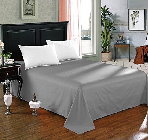 WOLTU-BW5002dgr-Tagesdecke-Bettberwurf-Sofaberwurf-Betttuch-Bettlaken-ohne-Gummizug-Decken-berwurf-Plaid-100-Baumwolle-210x240-cm-Dunkelgrau